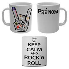 Mug Tasse Keep calm and Rock'n'roll avec prénom personnalisé devil's hand
