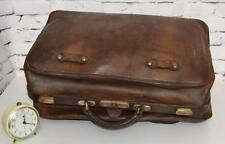 Antique English Leather Travel Bag c1920 - FREE Shipping [PL3528 ]