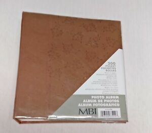 "New MBI 200 Pocket 4×6"" Photo Album Brown Floral Parchment Paper Cover"
