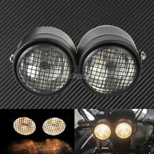 Grid Universal Twin Headlight Motorcycle Double Dual Lamp Street Fighter Racer