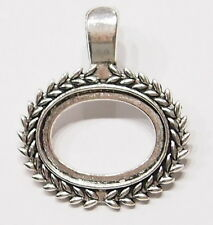4 of 25x18 mm Horizontal Antique Silver Plated Wreath Enhancer Pendant Settings