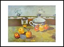 Cezanne Still life with apples cup and glass Poster Kunstdruck im Rahmen 50x70cm