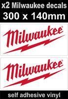 2 Milwaukee tools sponsor stickers 300mm motorsport car decal van truck workshop