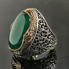 925 Sterling Silver Mens Ring Green Onyx Unique Handmade Turkish jewelry size 10