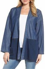 Eileen Fisher Midnight Tencel Cotton Denim Kimono Open Front Jacket PM NWT