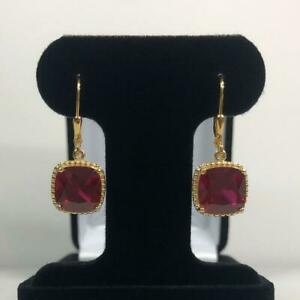 Ruby Stone Handmade Silver Gold Plated Earrings For MOM Fiance Wife Jewelry Gift