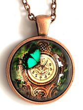 """Steampunk pic of a clock with butterfly glass necklace 22"""" copper tone gift #57"""