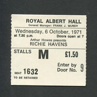1971 Richie Havens concert ticket stub Albert Hall London Here Comes The Sun
