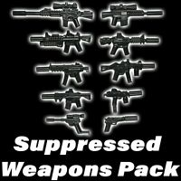 LEGO Guns Lot Suppressed Weapons Pack SWAT Military Army Assault Rifle X10