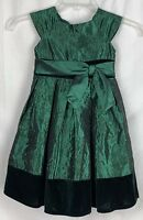Sweet Heart Rose Green Taffeta Floral Embroidered Dress Sash Christmas Size 6