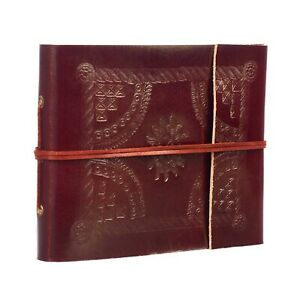 Fair Trade Handmade Embossed Small Leather Photo Album Scrapbook 2nd Quality