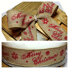 1m 50mm WIRED RUSTIC HESSIAN JUTE XMAS RIBBON, NATURAL & RED MERRY CHRISTMAS
