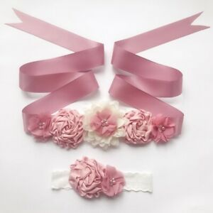 Handmade Floral Baby Shower Belly Sash Headband Flower Girl Maternity Sash Belt