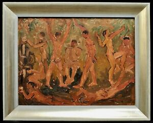 1950's POST IMPRESSIONIST OIL CANVAS NUDE FIGURES DANCING MID CENTURY PAINTING