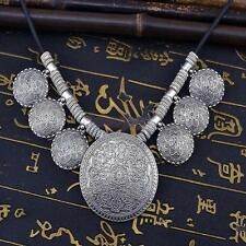 Vintage Boho Jewelry Ethnic Tribal Silver Coin Collar Statement Necklace