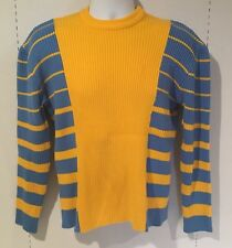 Vintage Snowmobile Sweater Yellow Blue Ugly