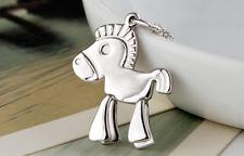"Super Adorable ""Trojan Horse"" Surgical Steel Silver Pendant Necklace"
