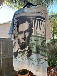 vintage 90s all over print single stitch abe lincoln xl