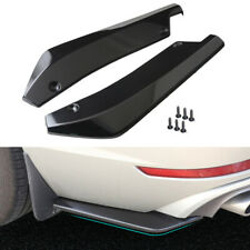 2x Universal Gloss Black Rear Bumper Lip Winglets Side Skirt Extensions