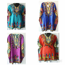 Women Clothing Dashiki Print Poncho top Shirt Hippie Short Dress Free Size