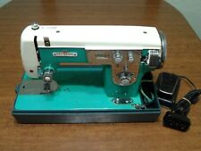 Vintage Deluxe ZigZag Sewing Machine Turquoise 1.5 amp Universal 300 Working HTF