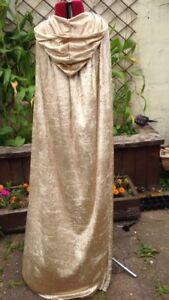 lined HOOD cape cloak 105cm GOLD crushed velvet adult   princess (pcvLH)