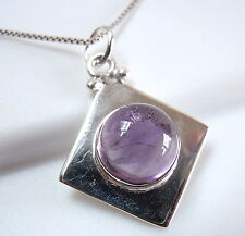 Amethyst Pendant 925 Sterling Silver Sphere on Square New Cube Round