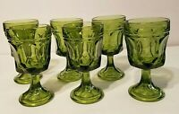 Anchor Hocking Fairfield Avocado Green Water Goblets Set of 6 Vintage