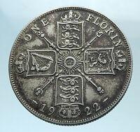 1922 Great Britain UK United Kingdom Big SILVER FLORIN Coin King George V i78161