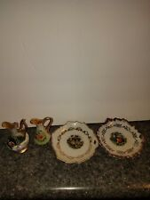 Vintage Collectible Miniature Ceramic Floral Pitchers & wall plates Ucagco Japan