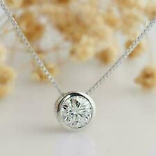 1.00ct Round Solitaire Diamond Pendant 14k Solid White Gold Necklace