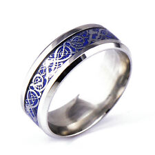 2017 Men's Silver Celtic Dragon Titanium Stainless Steel Wedding Band Rings Gift