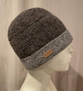 Mint Erin Knitwear HEATHERED BROWN All Wool Beanie Hat made in IRELAND