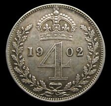 More details for edward vii 1902 silver maundy fourpence - nef