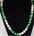 Chinese 14K Solid Gold, Natural Malachite and Round Chrystal Beads Necklace