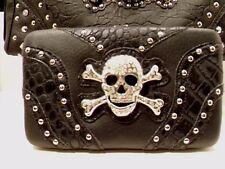 Motorcycle Skull & Crossbones Wallet Black with Studs Rhinestones Biker New