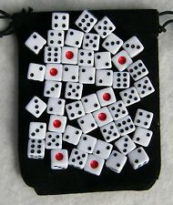 50 mini White Dice Set with Bag (8mm d6: bulk wholesale lot)
