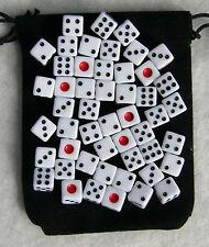 50 mini White Dice Set with Bag (8mm d6: bulk wholesale lot)