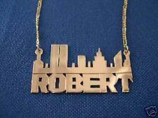 Personalized 14K Gold NAME Necklace - New York Skyline
