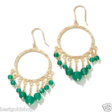 Technibond Round Chandelier Green Agate Gemstone Drop Earrings 14K Clad Silver