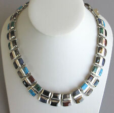 0.925 Sterling Silver-Multi Gems- Necklace Bernice Goodspeed Taxco, Mexico 150g