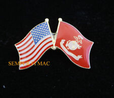 USA FLAG & US MARINE CORPS BATTLE COLORS FLAG HAT PIN USS MCB MCAS MAW DIV FMF