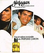 PUBLICITE ADVERTISING 045  1976  CARON eau de toilette irrésistble homme YATAGAN