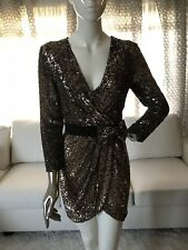 Phillip Lim Sequin 100% Silk Gold Cocktail Bow Dress Size 6