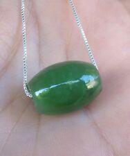 "Top Grade Russian Siberian Green Jade Barrel Slide Bead Pendant 18"" SS Chain"