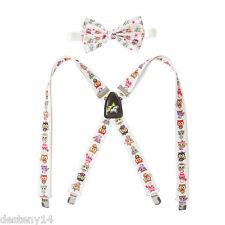 Neon Star by tokidoki Bow Tie & Suspender Set Owls White Adjustable Straps NWT