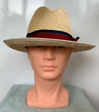 Unbranded Mens Beige 100% Straw Panama Style Summer Hat with Red Trim Size M