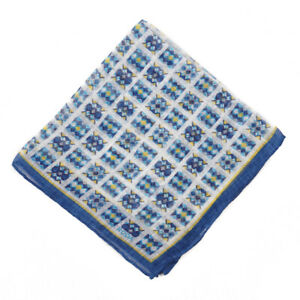 NWT RODA Blue-Turquoise-Lemon Yellow Geometric Print Linen Pocket Square