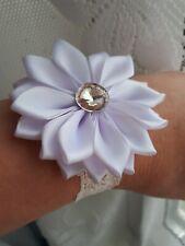 Flower Wrist Band Corsage Wedding Prom Bridesmaids Decor UK White Rhinestone
