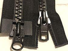 YKK 2WAY NO-8 BLACK VISLON MOLDED/PLASTIC/CHUNKY OPENEND ZIP 39.37Inc/100Cm Long